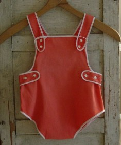 Red Piped Vintage Sun Suit
