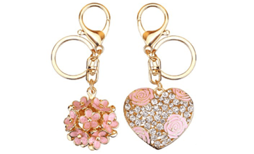 heart flower keychain duo