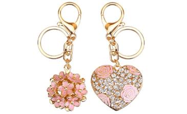 heart flower keychain duo