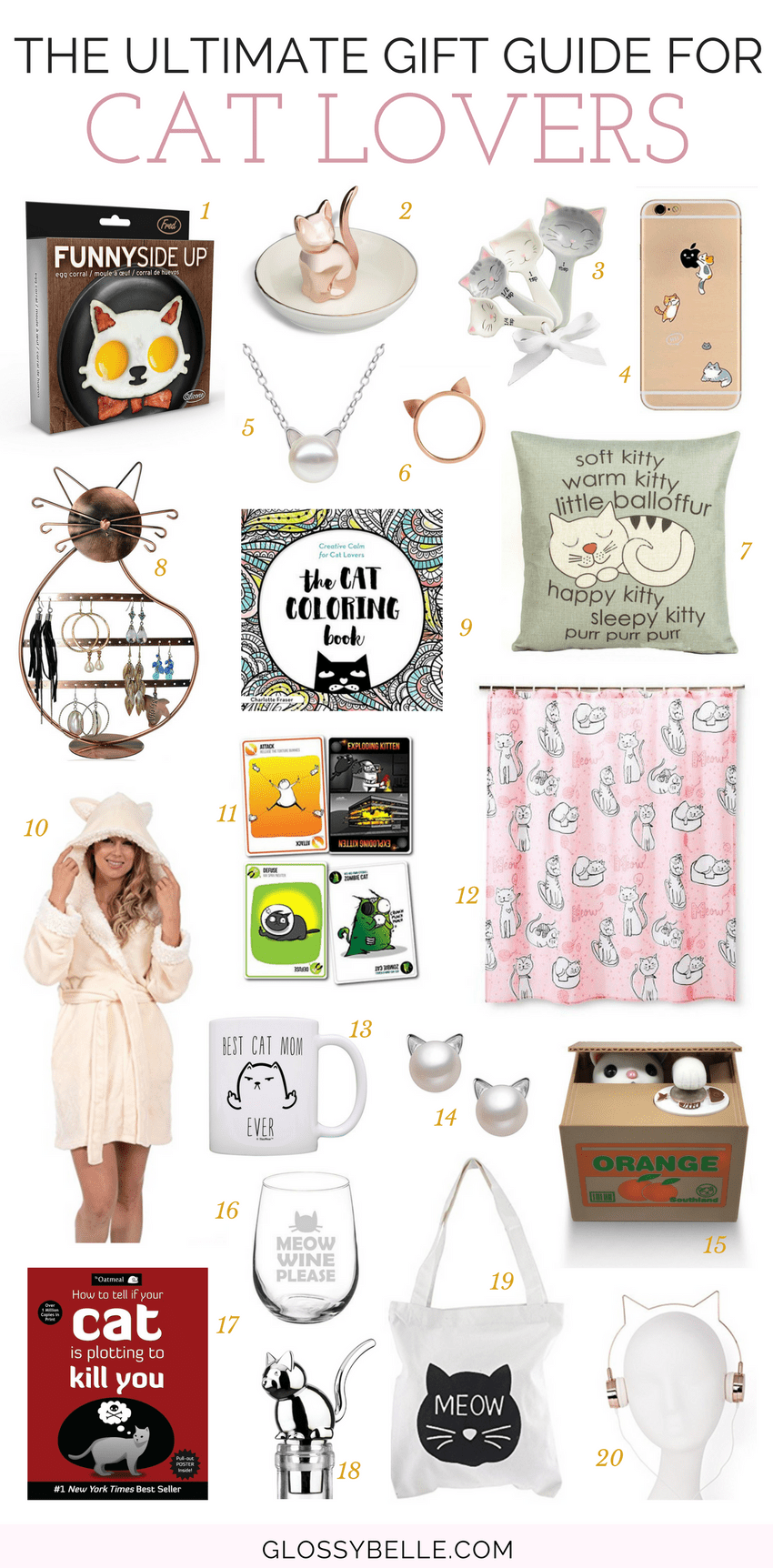 If you're looking for the purr-fect gift for any cat lovers in your life, what better way to show that you care about them than with cat-related presents!  Here are 20 awesome gift ideas you can consider getting them that they'll love. | gift guide | holiday gift guide | cat lover | kitty | kitty lover | gifts | presents | cat jewelry | cat presents | cat mama | cat mom #giftguide #christmasgifts #giftideas #holidaygifts #catlovers #cats