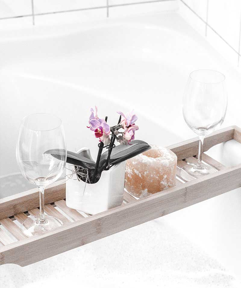 relax and meditate in a bath