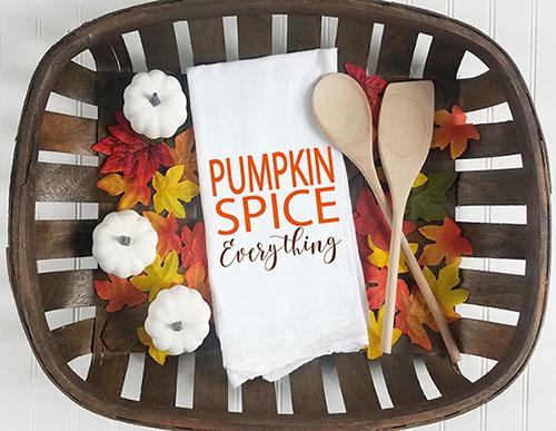 pumpkin spice everything kitchen tea towel