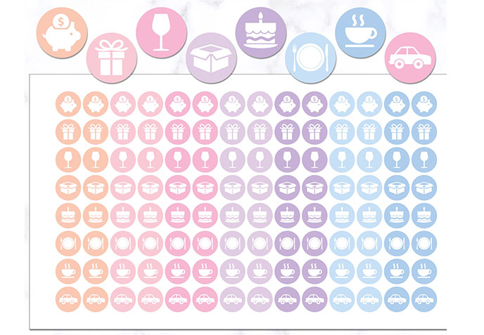 event icon stickers for bullet journaling