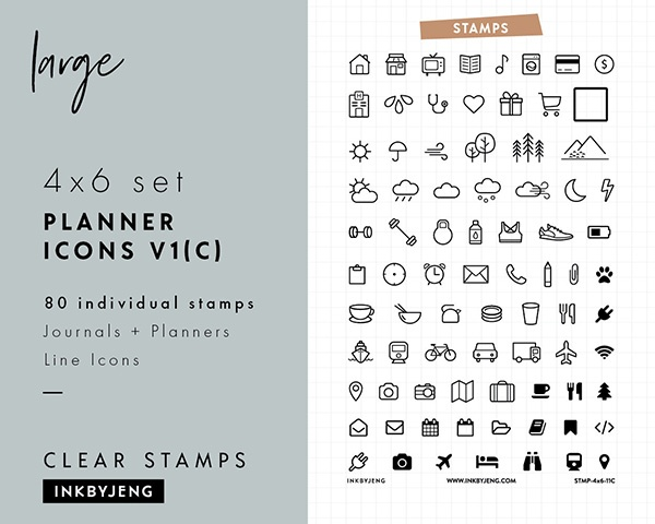 icon stamps for bullet journaling