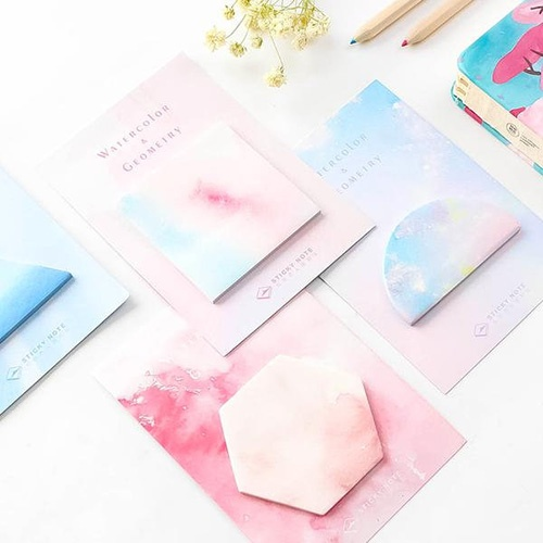 watercolor shapes sticky note pad