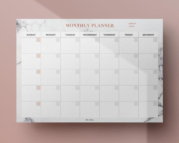 printable rose gold monthly wall planner