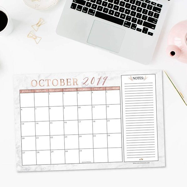 rose gold desk or wall calendar