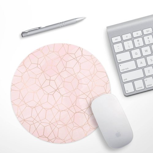 rose gold marble geometrical mouse pad