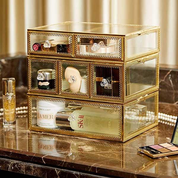 PuTwo Vintage Brass Makeup Organizer