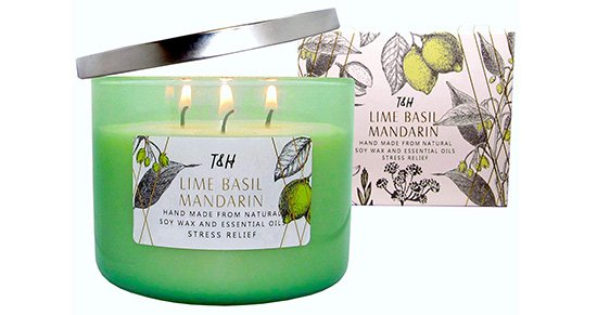 T&H Stress Relief Aromatherapy Candles 3-Wick Pure Soy Wax Scented Candle