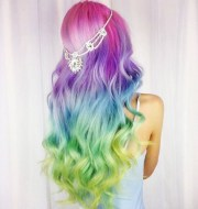 fashionable rainbow hair color