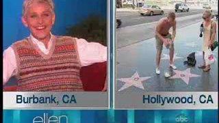 Ellen Monitors Her Walk of Fame Star Sept 12 2012