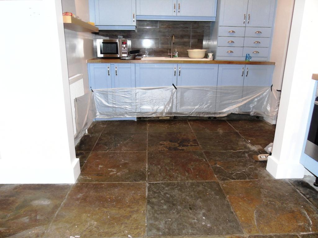 slate floor kitchen gray table restoring old hallway tiles stone cleaning and polishing african before in mickleton