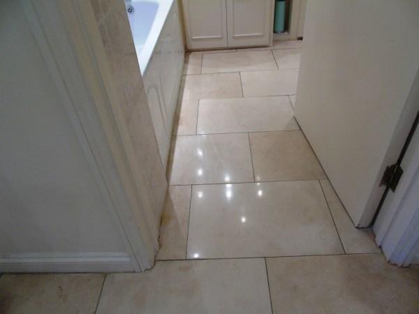 Limestone Bathroom Floor After Polishing Cirencester
