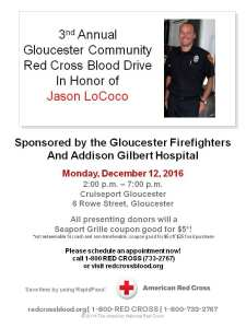 Gloucester Fire to Host Blood Drive in Honor of Local Firefighter