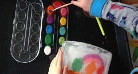 ice painting, summer craft, painting on ice blocks, summer kids craft, craft ideas with ice