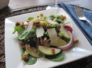 The Spring Greens and Green Apple Salad Sparkles on the Plate