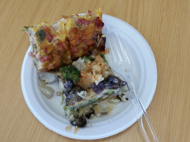 A little of each casserole made for a hearty breakfast at work