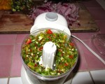 I use a small food chopper to get the finely chopped hot peppers