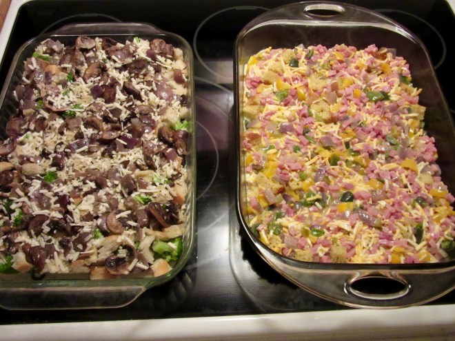 Ready for baking: both casseroles were prepared at night and cooked in the morning; for transporting, cover in foil and put them in a cooler to keep them warm
