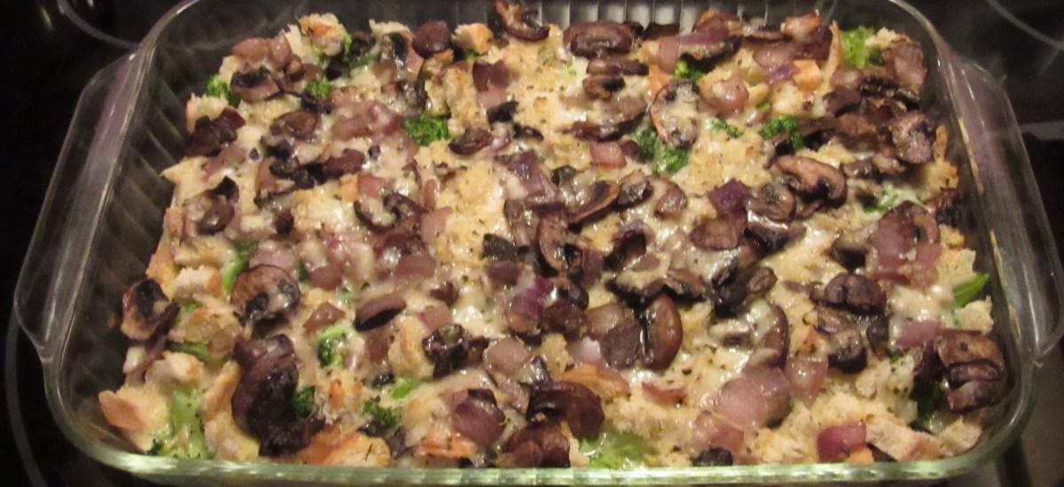 Breakfast Club Casseroles: Ham & Green Chilé Strata and Broccoli & Mushroom Frittata