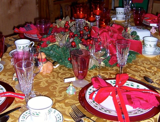 Tie decorative holiday ribbons around your napkins to create a bright, festive look.
