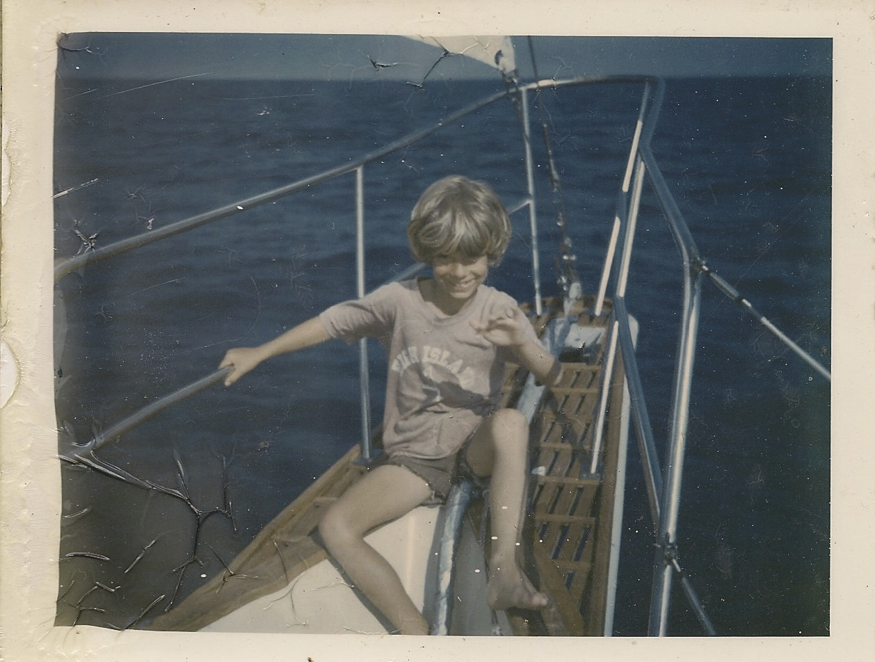 On my grandparents' sailboat, in the middle of the Gulf of Mexico, in the mid-70s