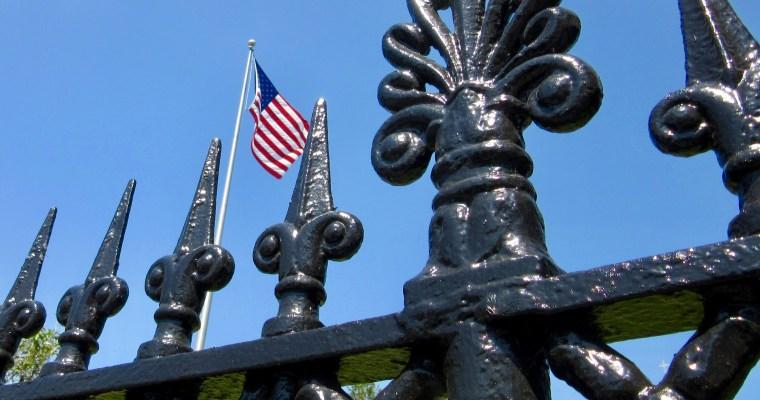 Visual Haiku for Memorial Day: Fence, Flag and Sky