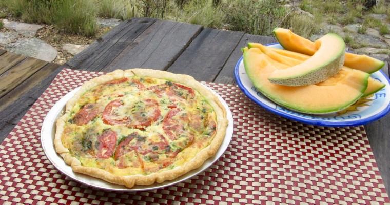 What's for Breakfast? Roasted Tomato, Mozzarella, and Spinach Quiche