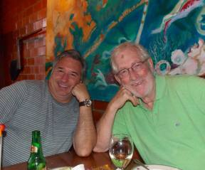 Dad and Tom in Galveston in 2014, two scruffy guys