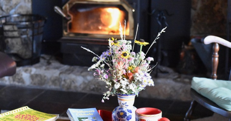 A Fire in the Fireplace in the Middle of Summer, a Haiku, and Wildflowers