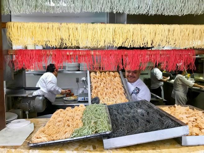 Beautiful display of different pastas at Celestino
