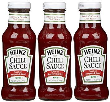 3 bottles of Heinz Chili Sauce