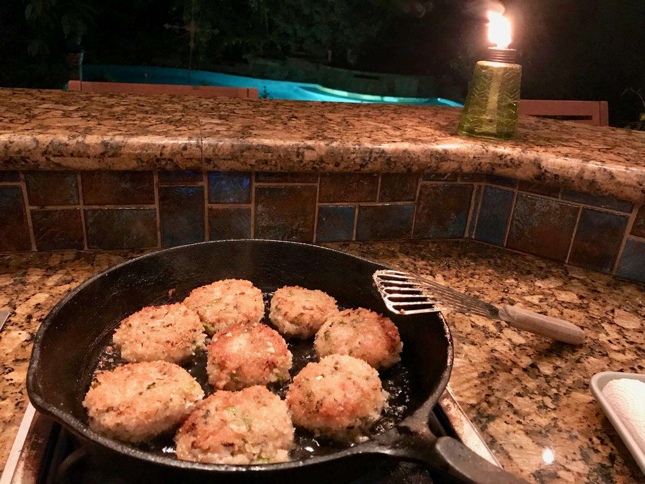 Risotto cakes in a cast iron skillet