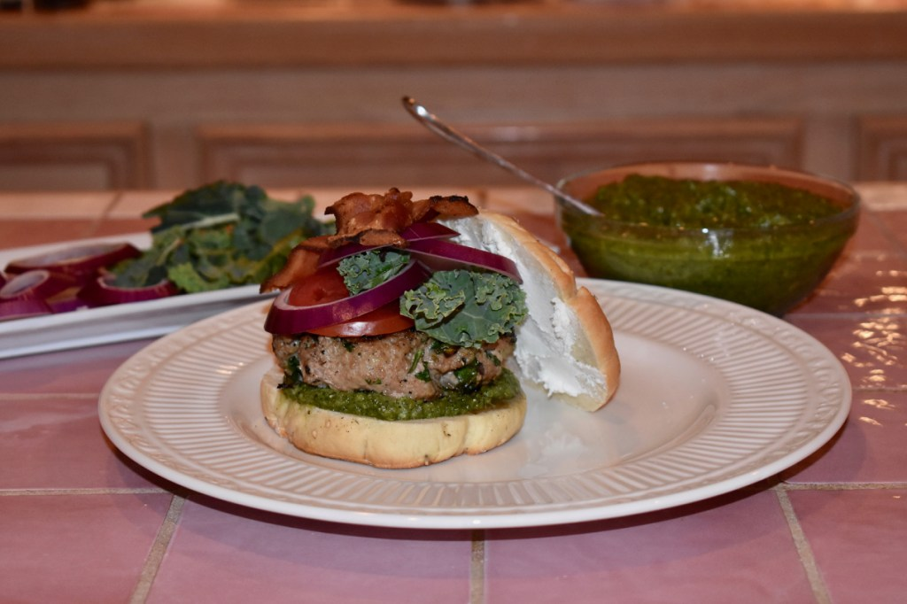 Turkey-Kale Burger with bacon, goat cheese, pesto and more kale, an over-the-top creation from right here at Glover Gardens