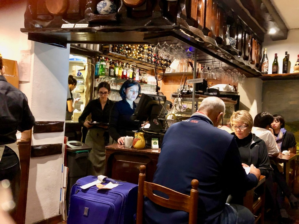 The busy bar at Da Corradi, a wonderful Italian restaurant in London