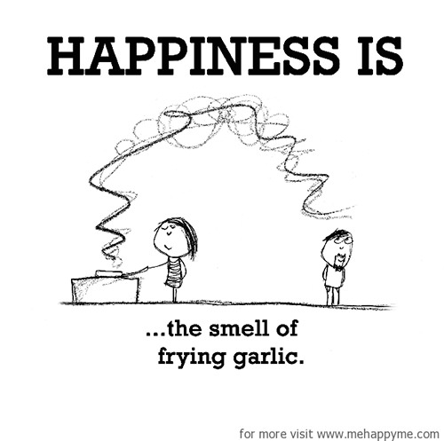 Cartoon of woman frying garlic and man looking happy