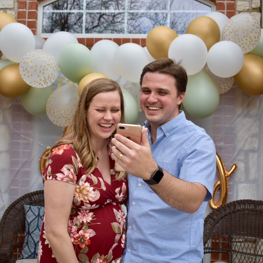 Sharing a laugh over Face Time at the drive by baby shower