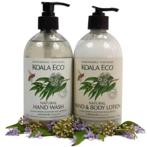 Koala Eco clean protect destress selection of hand wash hand and body lotion lemon scented eucalyptus and rosemary