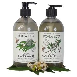 Koala Eco hand care partners selection with hand wash and hand sanitiser