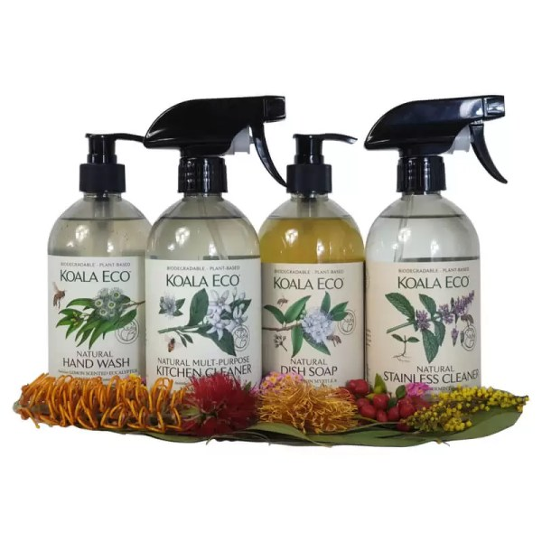 Koala Eco kitchen essentials selection hand wash dish soap kitchen cleaner and stainless cleaner