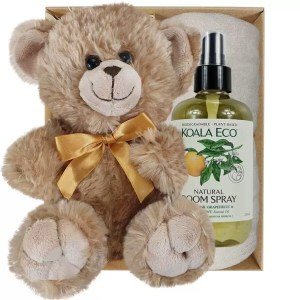 Bailey Teddy Bear with Koala Eco Room Spray and Soft Cream Bamboo Hand Towel Gift Boxed by Gloves and Sanitisers