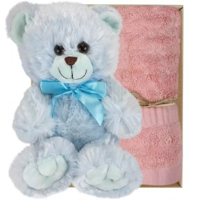 Baby Blue Teddy Bear and Coral Pink Bamboo Hand Towel Gift Boxed by Gloves and Sanitisers