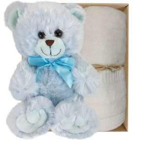 Baby Blue Teddy Bear and Soft Cream Bamboo Hand Towel Gift Boxed by Gloves and Sanitisers