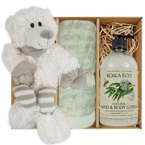 Ellie Stripey Sox Teddy Bear with Koala Eco Natural Hand & Body Lotion and Gum Green Bamboo Hand Towel Gift Boxed by Gloves and Sanitisers - stock no. GBEllieHTLBodyGGrn