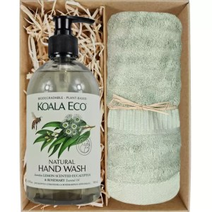Koala Eco Natural Hand Wash with a Gum Green Bamboo Hand Towel Gift Boxed by Gloves and Sanitisers