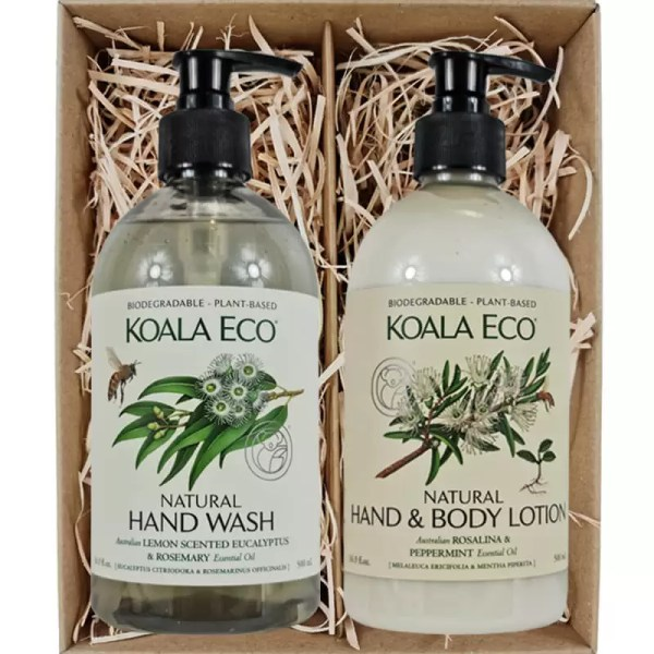 Koala Eco Natural Hand Wash and Natural Hand and Body Lotion Rosalina & Peppermint in a gift box from Gloves and Sanitisers