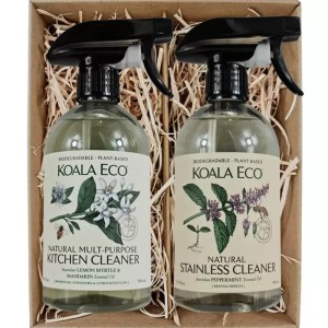 Koala Eco Natural Multi Purpose Kitchen Cleaner and Natural Stainless Cleaner in a gift box from Gloves and Sanitisers