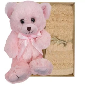 Baby Pink Teddy Bear and Sandstone Bamboo Hand Towel Gift Boxed by Gloves and Sanitisers