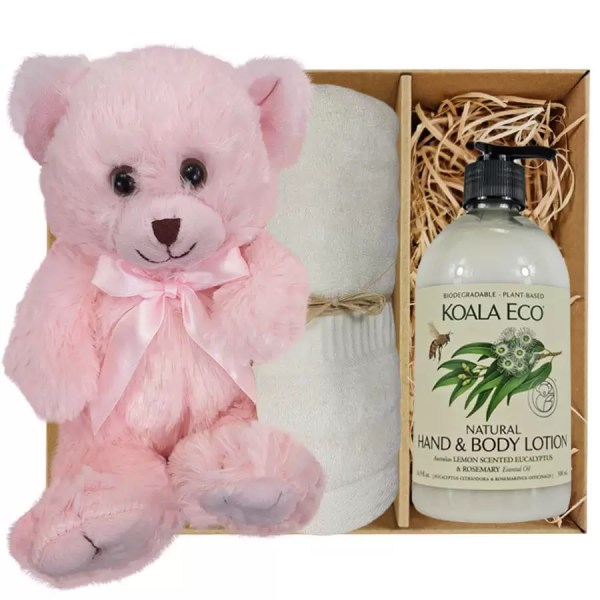 Baby Pink Teddy Bear with Koala Eco Natural Hand & Body Lotion and Soft Cream Bamboo Hand Towel Gift Boxed by Gloves and Sanitisers - stock no. GBPinkHTLBodyCream